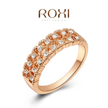 Roxi Fashion Women's Jewelry High Quality Classic Elegant Ring Rose Gold Plated Round Pave Top Rich Austrian Crystals