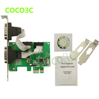WCH382 Chipset PCI-e 2 Serial ports Controller card PCI express to RS232 com port adapter for printer, scanner, modem