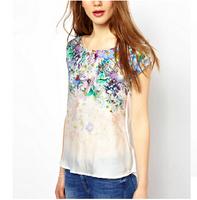 ST1622 New Fashion Ladies' Elegant vintage floral print T shirt O neck short sleeve casual slim brand designer tops