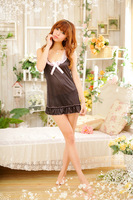 [SNY-042]Women low-cut black lace lingerie Interest nightgown+Free Shipping