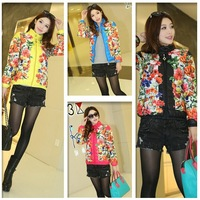 Women's Printed Desigual Down Jacket Coat Ladies Winter Warm Padded Parka Overcoat Stand Collar Zipper Outwear Clothing