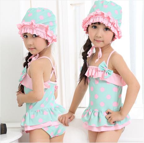 (5pcs/lot)Lovely Printing Children Swimwear Kids Beach Clothing,New Sale One Piece Swimsuit+Swim Cap For 2-8T Girls Wholesale(China (Mainland))