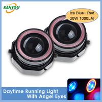 2014 New 1 Set COB LED DRL Daytime Running Light 30W Red+ Blue Halo Angel Eyes Fog Lamp for Mazda 6,Volkswagen,Nissan,Opel