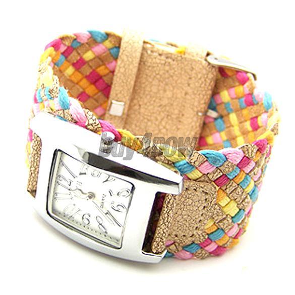 Color Braided Plaited Rope Strap Wrap Quartz Lady Wrist Watch 1STL