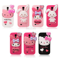 New arrival Fashional  cute cartoon model silicon material Little Rabbit shape cover Case for Samsung Samsung Galaxy S4 i9500