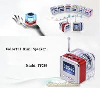 TT029 Nizhi Mini Portable USB Music Speaker Support Micro SD/TF Card U-disk Slot FM radio LED digital screen Radio Player HOT