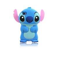 New arrival Fashional cute cartoon model silicon material Stitch 3D shape Movable Ear cover Case for Apple iPhone 4 4S PT1024