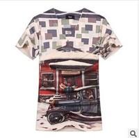 2014 new Man's fashion 3D print v-neck short-sleeve T-shirt Individualization roupas men social clothes brand silm fit tees tops