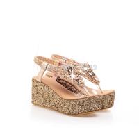 2014 paillette  Women thong sandal  Hot color summer bohemia plug  Size 41-47 wedge Sponge Roman shoes