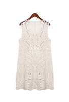 Fashion nude color casual cutout a full lace embroidery flowers sleeveless vest one-piece dress plus size
