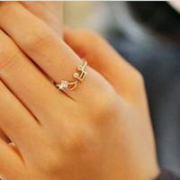 Hot sale new Punk music Standard women finger Ring fashion crystal music ring Free shipping