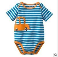 Cute Car Stripe Baby Rompers  Blue Newborn Jumpsuit  6-24M Baby clothes  Playwear  5Pc/lot