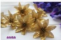 Simulation flower golden flower heads flowers Red silk flowers flower arrangement arch flower arrangement The golden flower 10pc