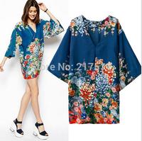 Free Shipping New Fashion 2014 Variety Half Sleeve Tassel Hem Floral Print Loose Lady Chiffon Kimono Cardigan S-M-L Women Shirts