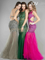 On Sale Vestido De Festa Longo Scoop Neck Luxury Beading See Through Tulle Mermaid Sexy Prom Dress Evening Party Gown Backless