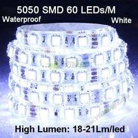 Last Day! high brightness SMD5050 60led/m18-21Lm/led 6000K white IP65 waterproof led Flexible strip light DHL Freeshipping