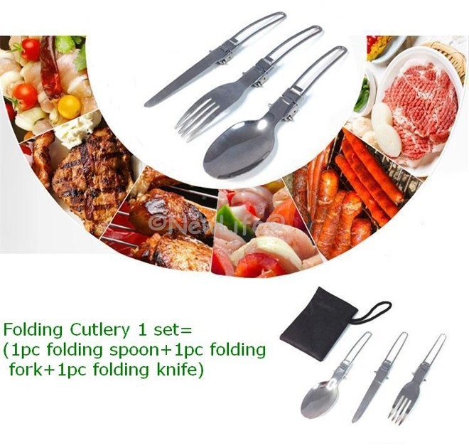Portable Folding Cutlery Stainless Steel Dinnerware Foldable Knife Fork And Spoon Camping Multi Outdoor Picnic Utensils 1set(China (Mainland))