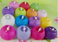 "Free Shipping 20Pcs/Lot 10cm 4"" Wedding Round Paper Lanterns Home Party Decoration Mini chinese paper lanterns 14 Colors"