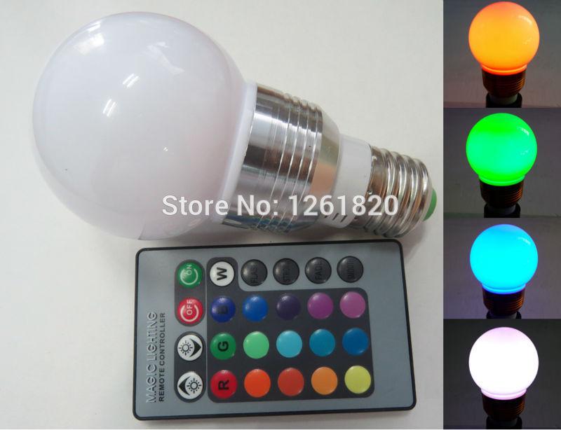 5 PCS/lot RGB ball bubble lamp control ball bubble lamp Colorful LED ball steep light 5 w E27 bulb free shipping(China (Mainland))