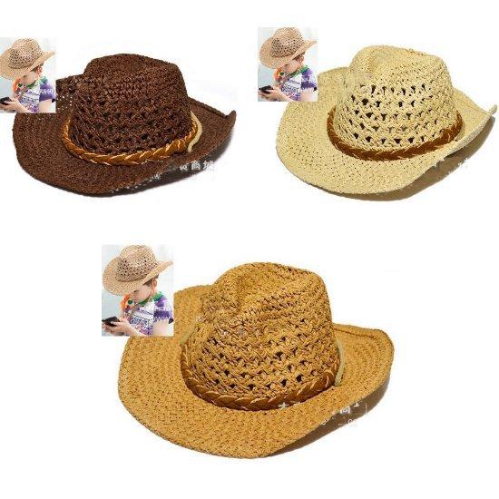Fashion Handmade Cowboy Children Kids Straw Brimmed Cap Baby Sun Hat CCAP157(China (Mainland))