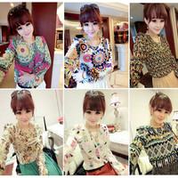 A96*blusas femininas 2014 Spring New Womens Retro Puff Long Sleeved Shoulder Padded Floral Printed Chiffon Blouses Tops T shirts