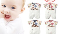 2014  Cute Summer Boy & Girl Baby Rompers   Dad Mom 4 different Color Rompers   Infant Toddler clothes 6-18M