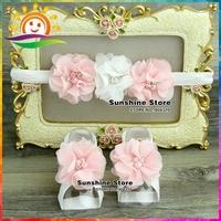 Sunshine store #2B1958 5 set/lot  Baby Boutique elastic pink&white rosset Headbands and Barefoot Sandal shoes set  diamond/pearl