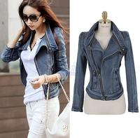 New 2014 Best Sale Women Coat Fashion Stylish Punk Lapel Zipper Denim Jean Slim Coat Blazer Jacket Biker Outerwear Zip Up LA250
