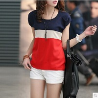 M, L,XL 2colors blouse free shipping women's blouses red color stripe chiffon blouses, short sleeve tops shirts for women summer