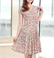 M-XXL 2014 summer Light refreshing milk silk short-sleeve V-neck beach dresses plus size knee-length flower print dress, HFF15
