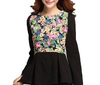 Free Shipping! Women Hot selling Spring Chiffon O-neck Fashion Shirts,  Female Long sleeve  Floral Blouses M L XL XXL XXXL