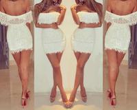 Free Shipping  Women Summer Dress 2014  Party Dress  Sexy Low-cut Dress White Lace Dress Nightclub  P1081