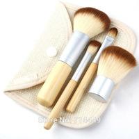 Hot Brushes Bamboo Makeup Environment-friendly Elaborate Makeup Brush 4pcs/Set Earth-Friendly Portable Easy to use