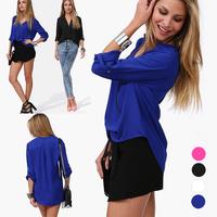 2014 European and American temperament v-neck Leisure women long sleeve Half Sleeve Solid chiffon shirt 2X E2731