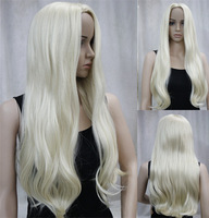 Elegant Long Culy  Blonde Synthetic Hair Wigs free shipping 10pcs/lot