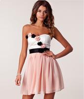 New 2014 Women Summer Dress Fashion Cute Princess Three-dimensional Flower Wrapped Chest Chiffon Dress