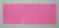 Free Shipping  Beautiful  Heart design instant  fondant silicone lace mold cake mold  baking tools cake decorating  tools-Y048