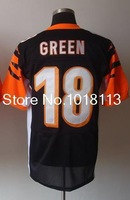 Cheap Elite authentic American Football Jerseys #18 A.J. Green Men's Elite Team Black Football Jerseys