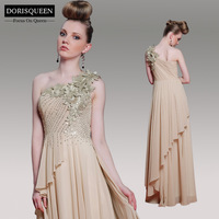 Dorisqueen free shipping ready to wear one Shoulder Heavy Beaded Champagne Applique Celebrity long Formal prom dresses 2014