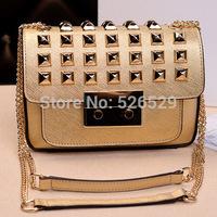 Free Shipping female chains rivet genuine leather handbag women luxury famous brand designer high quality shoulder messenger bag