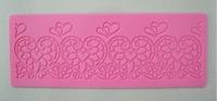 Free Shipping  Heart  shape instant  fondant silicone lace mold cake mold  baking tools cake decorating  tools-Y044