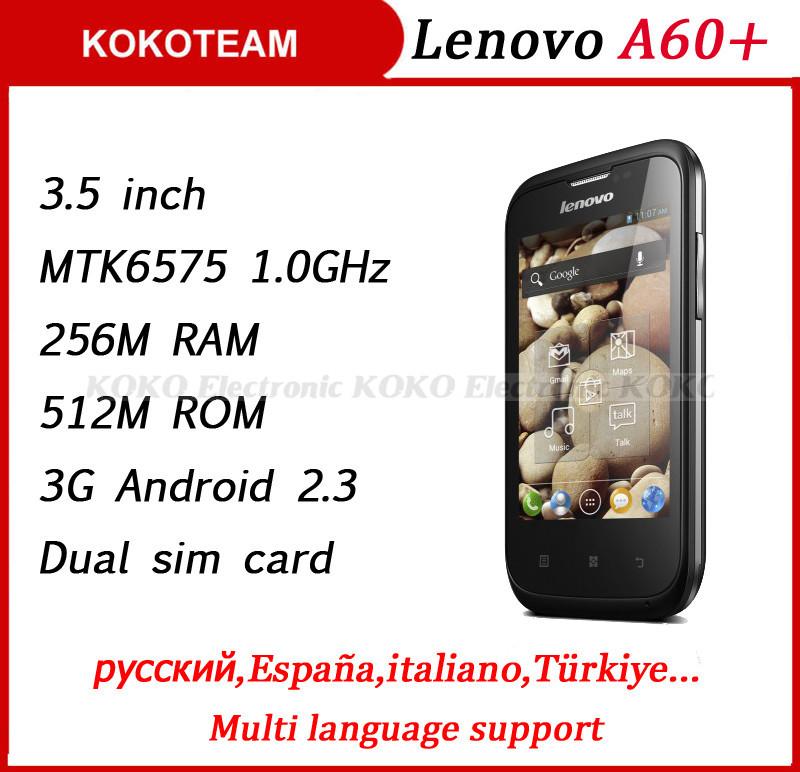 Original cheap Lenovo A60+ 3G mobile phone 3.5inch Screen Dual sim 1500mAh battery cell phones MTK6575 1.0GHz CPU smartphone(China (Mainland))