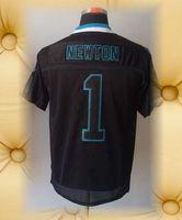 Brand New Carolina Football Jerseys 1 Cam Newton Black Mens Light Out Black Elite Jerseys