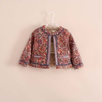 2014 winter new fashion children girl band bohemian style floral cotton o-neck short jackets cool coat 2-11 years