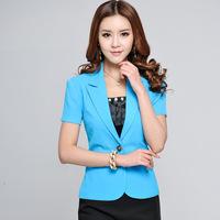 blaser feminino solid color blue ladies blazer short sleeve S M L XL XXL XXXL Free shipping 30124