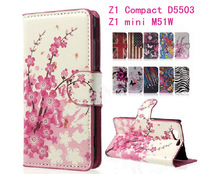 1pcs UK USA Flag Zebra Starfall Flower Leather Stand Case Cover  for Sony Xperia Z1 Compact D5503 Z1mini