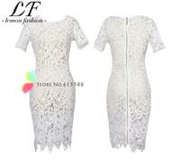 Bandage Bodycon Celebrity Dress Women's Floral Crochet Boho Krueevo Eenschina Midi Pencil Dresses White