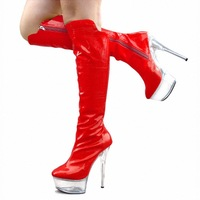 FREE SHIPPING 2014 LD-P1824 Sexy Candy Color Model Show Crystal Bottom 15CM High Knee-High Boot Cosplay Shoes 5Color Optional