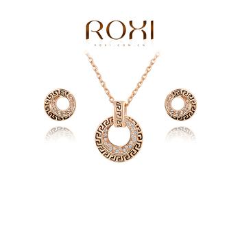Roxi женский комплект украшений: серьги и ожерелье, изготовлен из розового золота с трех разовым золотым напылением, украшен австрийскими кристаллами, ручная работа,выполнен в винтажном стиле