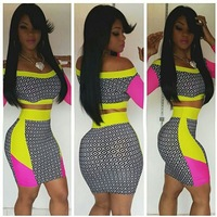 Free Shipping 2014 New Fashion  2 Pcs geometric patchwork print Bodycon Party Dress SC045  S M L Plus Size